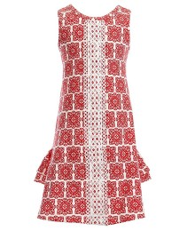 Counting Daisies Red Wt White Embroidery A Line Dress