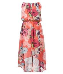 Honey & Rosie Coral Multi Brown Belted Floral High Low Dress
