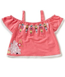 Flapdoodles Pink Cold Shoulder Embroidered Top  Little Girl