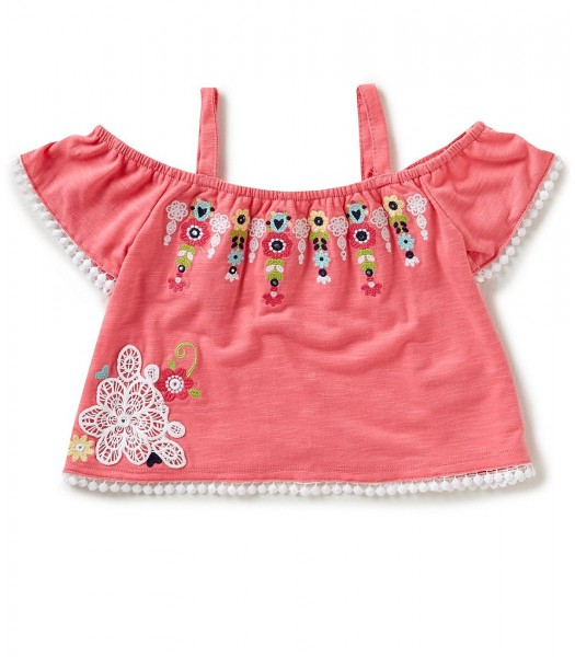 Flapdoodles Pink Cold Shoulder Embroidered Top