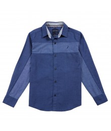 Nautica Blue Two Tone Chambray Shirt