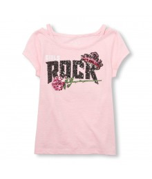 Childrens Place Pink Embellished Rocker Graphic Top