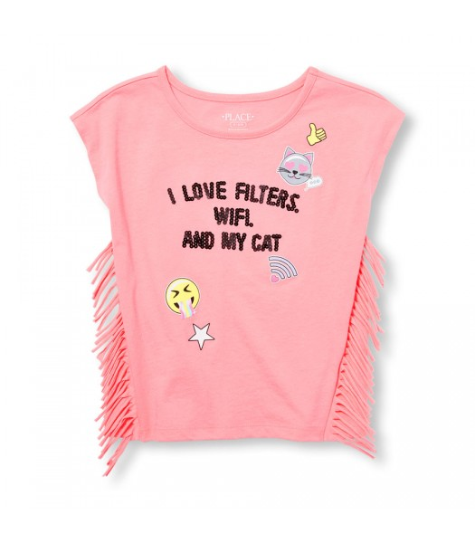 Childrens Place Pink Girls Side Fringe Emb Graphic Top