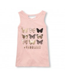 Childrens Place Coral Butterfly Print Emb Cross-Back Tank Top