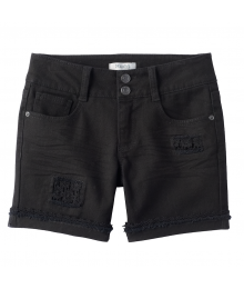 Mudd Black Crochet Patch Jean Shorts - PLUS SIZE