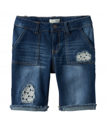 Mudd Blue Lace Patched Bermuda Jean Shorts
