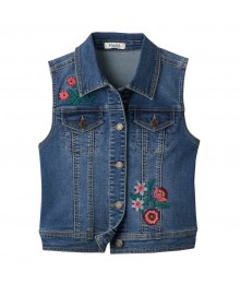 Mudd Floral Embroidered Denim Vest