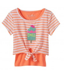 Freestyle Orange Wt White Stripes Reversible Sequin Tee & Tank Top Set  Little Girl