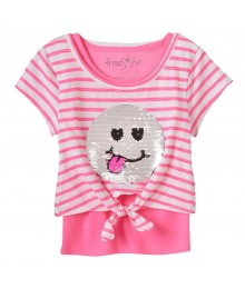 Freestyle Pink Wt White Stripes Reversible Sequin Tee & Tank Top Set  Little Girl