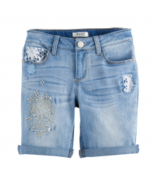 Mudd Light Blue Emroidered Denim Bermuda Shorts