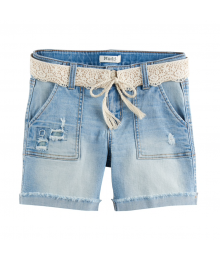 Mudd Crochet Belted Denim Midi Shorts