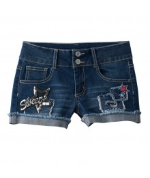 Mudd Denim Vanilla Star Sequin Patch Jean Shorts