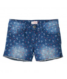 Mudd Dark Blue Anchor Print Jean Short - plus