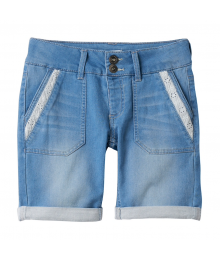 SO Light Blue Lace Trim Bermuda Jean Shorts - PLUS SIZE