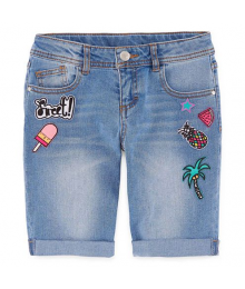 Total Girl Denim/Blue Bermuda Shorts With Tropical Patches