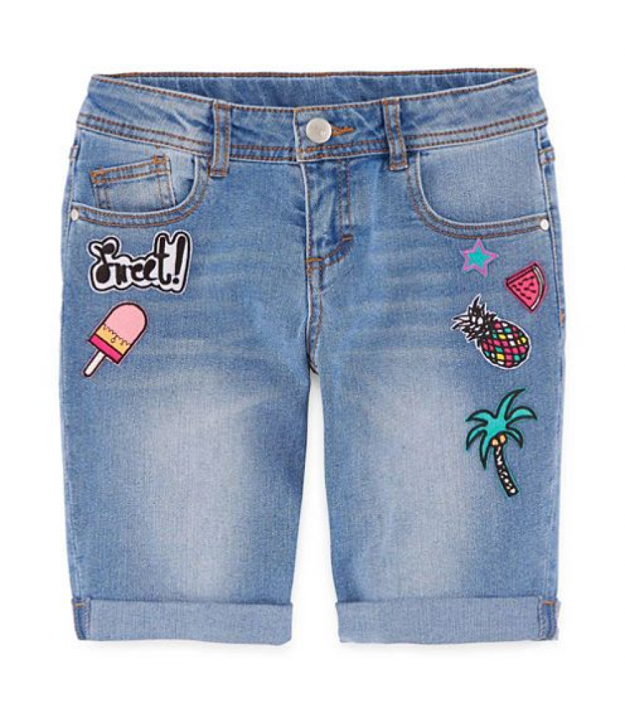 8baba70948 Total Girl Denim/Blue Bermuda Shorts With Tropical Patches