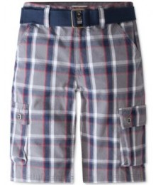 Levis Grey Red Plaid Cargo Shorts