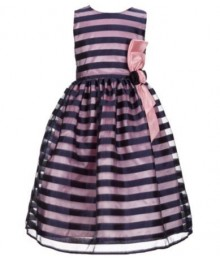 Jayne Copeland Black/Pink Shadow Stripe  Dress