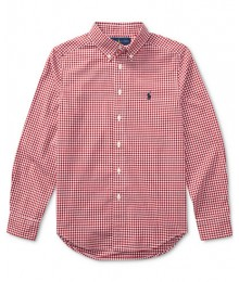 Polo Red /White Check L/S Shirt