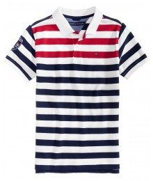 Tommy Hilfiger Wht/Red/Blue Striped Polo
