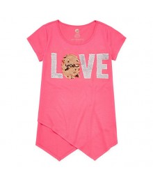 Total Girl Coral Love Flip Sequined Tee