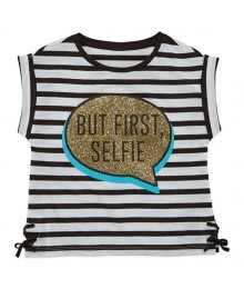 Total Girl Black/White Stripe Ss But First Selfie Sequin Tee