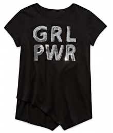 Total Girl Black Grl Pwr Sequined Top Little Girl