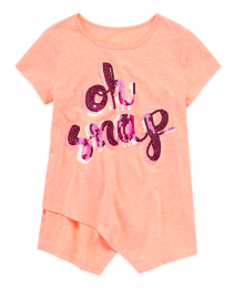 Total Girl Peach Oh Snap Sequined Top  Little Girl