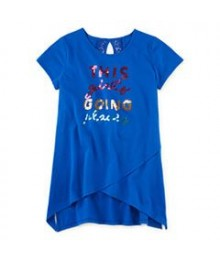 Total Girl Blue This Girl Going Places Sequined Tee