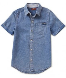 7 For All Mankind Blue Faded Shirt