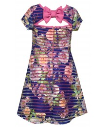 Bonnie Jean Blue/Pink Multi Flowered With Pink Back Bow Dress