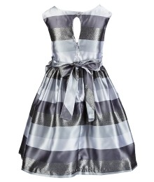 Jayne Copeland Grey Metallic Striped Dress