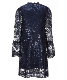 Gb Girls Dark Blue Bell Sleeved Lace Sequin Dress