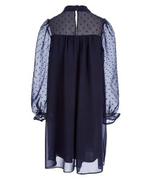 Soprano Navy Blue Dot Accented Chiffon Long Sleeve Dress