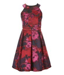Gb Girls Red / Maroon Bow Back Floral Dress