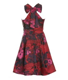 Gb Girls Red / Maroon Bow Back Floral Dress  Little Girl