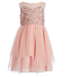Tween Diva Pink Jewelled Flare Dress