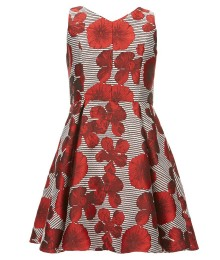 Gb Girls Red Floral Jacquard Sleeveless Dress