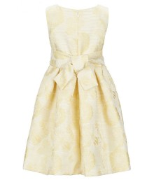 Bonnie Jean Yellow Floral Jacquard Beaded Waist Dress
