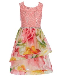 Xtraordinary Pink/Yellow Sequin Embellished Lace/Floral Beaded Waist Dress