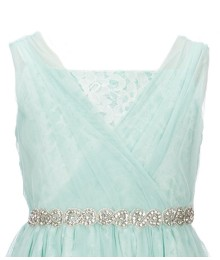 Blush By Us Angels Teal/Green Lace Waist Beaded Dress