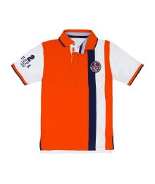 Uspa Orange With Blue & White Vertical Stripe Polo Shirt