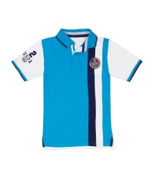 Uspa Turquoise With Blue & White Vertical Stripe Polo Shirt