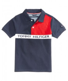Tommy Hilfiger Blue/Red/White Color Block Polo Shirt