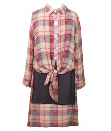 Bonnie Jean Tan L/S 2 Piece High Low Shirt Dress