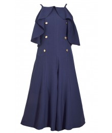 Bonnie Jean Blue Spag Strap Gold Button Jumpsuit