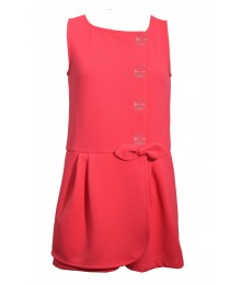 Bonnie Jean Coral Sleeveless 4 Button & Bow Shortsdress