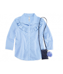 Beautees 3/4 Sleeve Blue Dotted Button Front Top Wt Phone Pouch And Keychain  Big Girl
