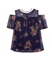 By & By Girl Navy With Pink Flower Cold Shoulder Blouse