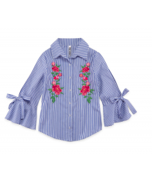 Beautees Blue/White Stripe 3/4 Sleeve Wt Flowery Embroidery Blouse Shirt